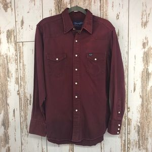 Wrangler Canvas Shirt, Pearl Snaps, Size 16.5x35